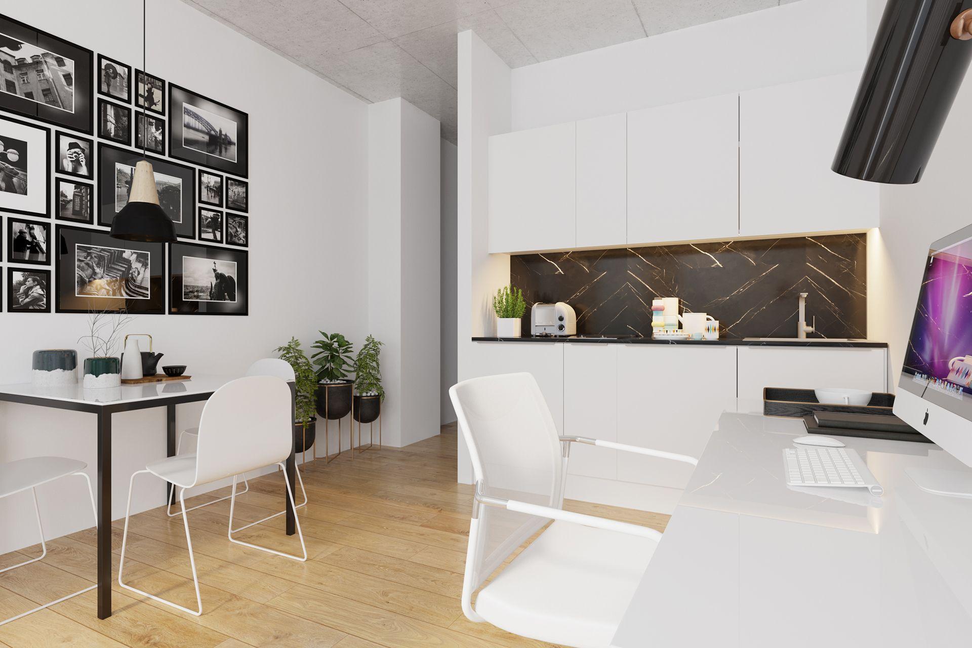 Interiorvisualisierung: Wohnküche Bsp. 4 von Apartment Kardinal-Nagl-Platz, Wien-Landstrasse