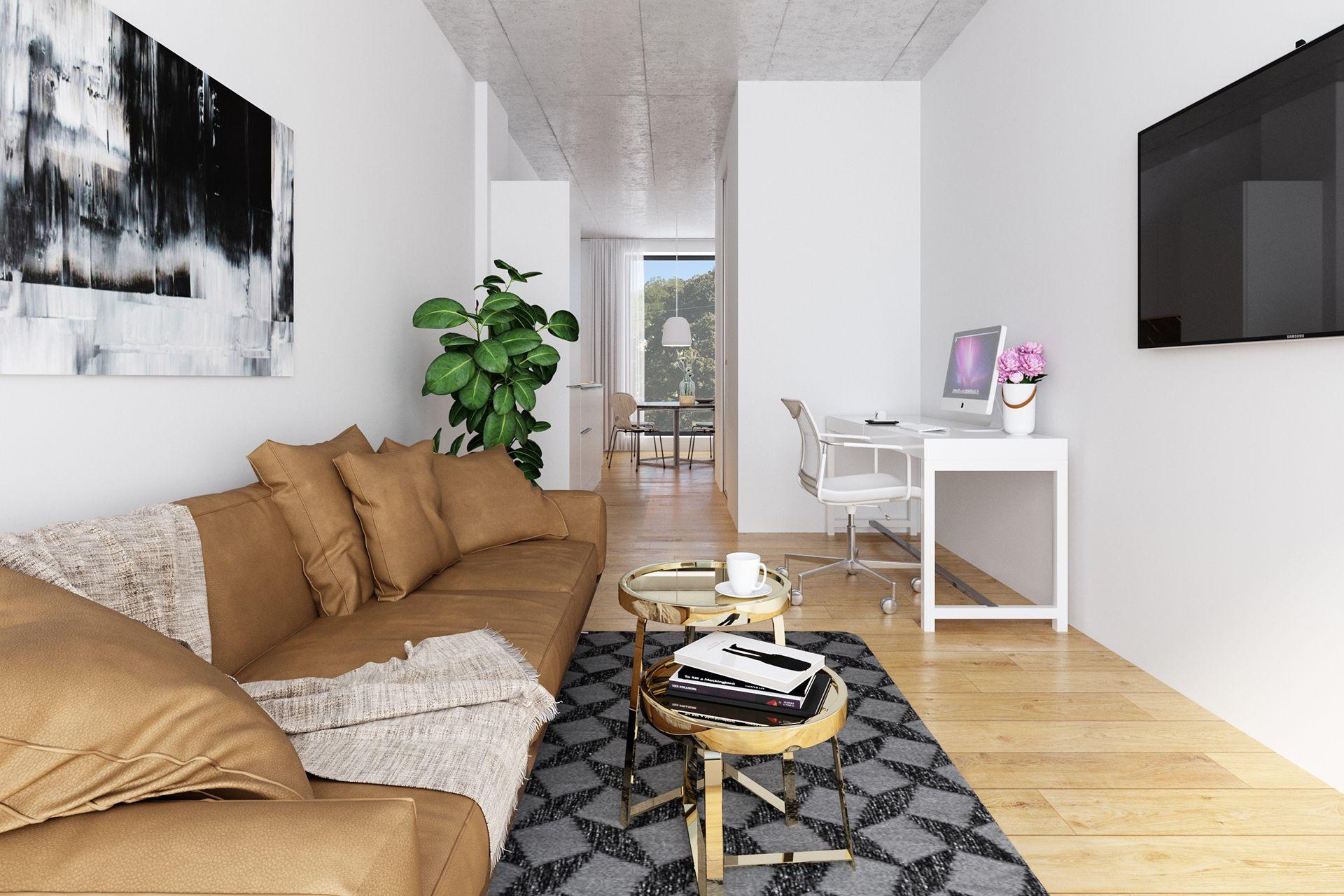 Interiorvisualisierung: Wohnzimmer Bsp. 1 von Apartment Kardinal-Nagl-Platz, Wien-Landstrasse