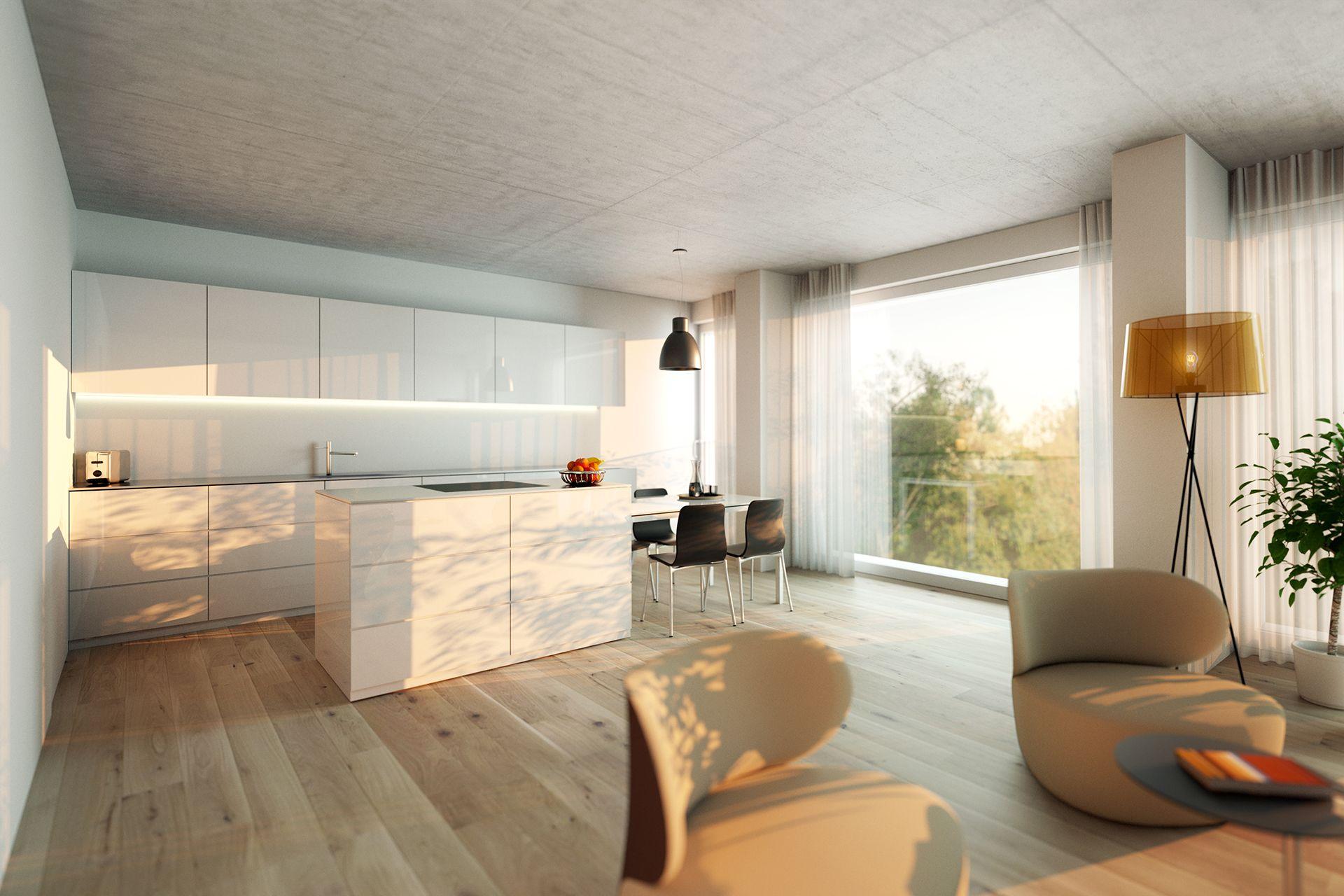 Interiorvisualisierung: Küche von Wohnung Kardinal-Nagl-Platz, Wien-Landstrasse