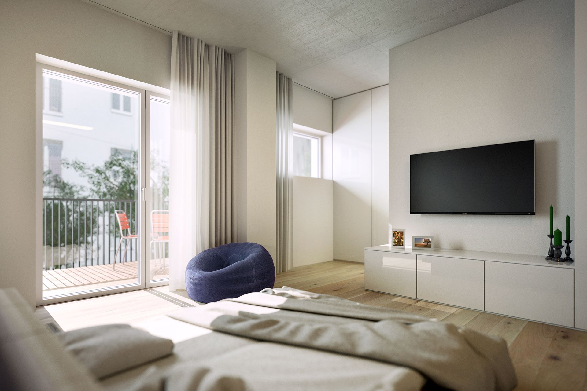 Interiorvisualisierung: Schlafzimmer von Wohnung Kardinal-Nagl-Platz, Wien-Landstrasse