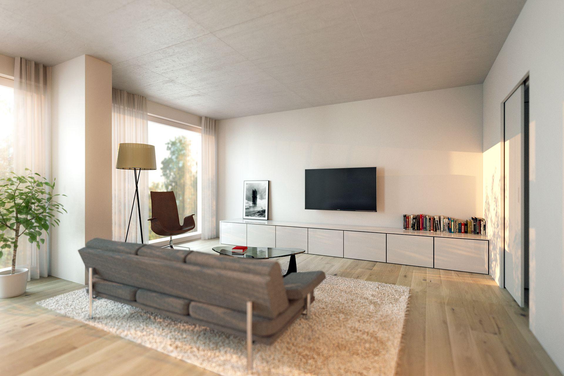 Interiorvisualisierung: Wohnzimmer von Wohnung Kardinal-Nagl-Platz, Wien-Landstrasse