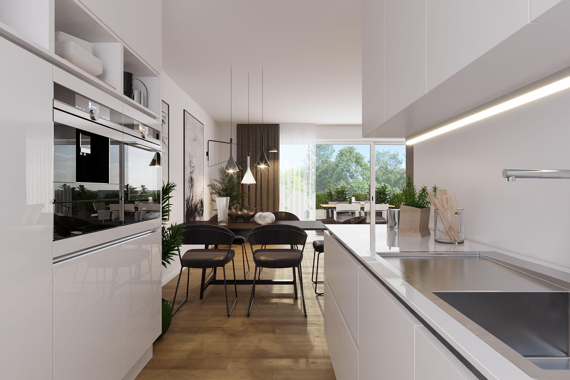 Interiorvisualisierung: Küche von Reihenhaus Unterwaltersdorf, Niederösterreich
