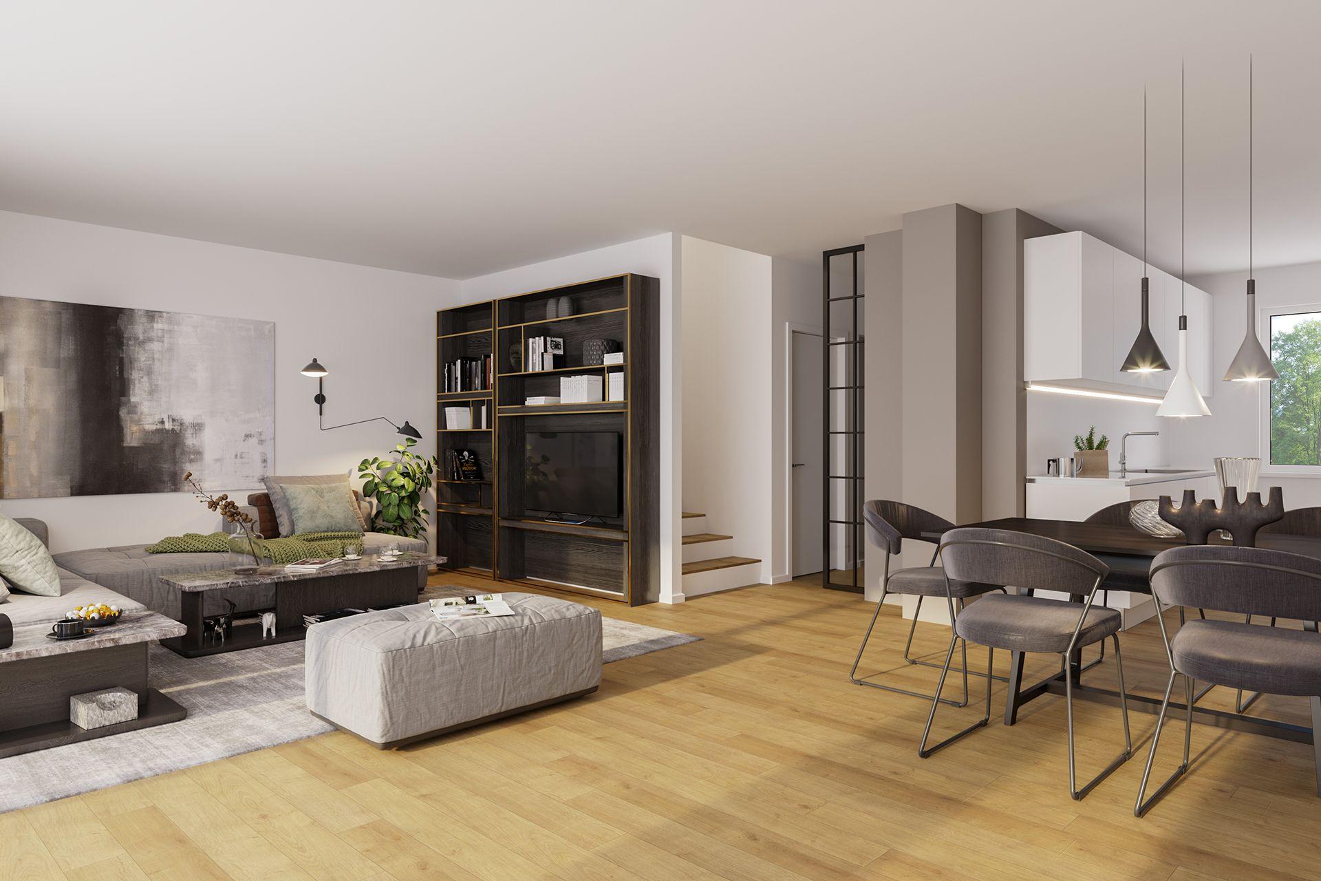 Interiorvisualisierung: Wohnzimmer von Reihenhaus Unterwaltersdorf, Niederösterreich